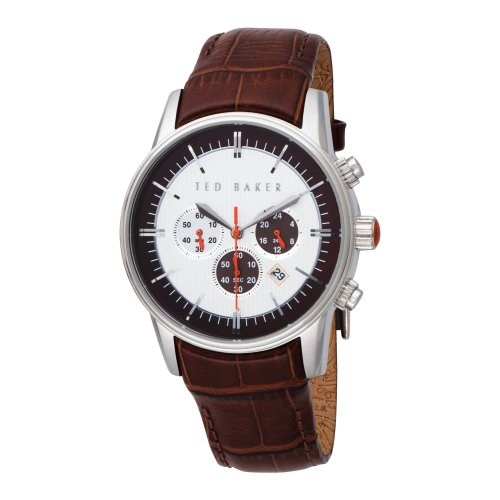 Ted Baker Mens Watch TE1015 with Silver Dial and Brown Leather Strap