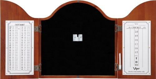 Viper Cambridge Collection Solid Oak Arched Dartboard Cabinet, Cinnamon Finish