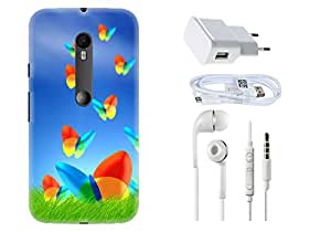Spygen Motorola Moto G Turbo Edition Case Combo of Premium Quality Designer Printed 3D Lightweight Slim Matte Finish Hard Case Back Cover + Charger Adapter + High Speed Data Cable + Premium Quality Handfree