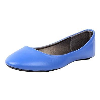 West Blvd West-Blvd-Ballet-Womens Ballet Ballet-Flats, Blue Pu, 5