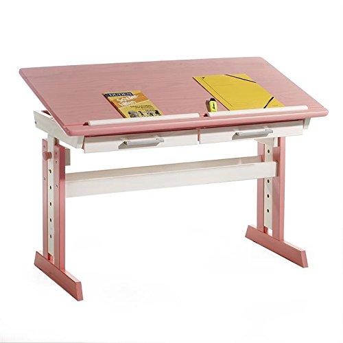 Kinderschreibtisch Schülerschreibtisch Jugendschreibtisch OLIVIA, höhen- und neigungsverstellbar, Kiefer massiv in weiß/rosa günstig online kaufen