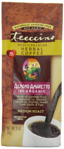 Teeccino Herbal Coffee, Mediterranean Almond Amaretto, Caffeine-Free, 11-Ounce Bags (Pack of 3)