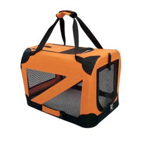 Pet Life 360 Vista View Soft Folding Metal Frame Pet Crate, Orange, Medium