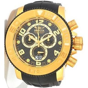 Invicta Men's 0415 Pro Diver Collection Sea Hunter Chronograph Black Polyurethane Watch