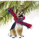 German Shepherd Miniature Dog Ornament - Tan & Black