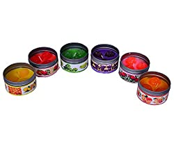 Purpledip Fruit scented wax candles Set of 6, Long lasting aroma
