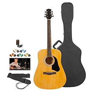 Silvertone SD2000-KIT-2 Acoustic Guitar with Strap, Tuner, Pick Sampler and Hard Case