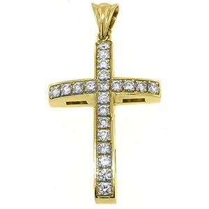 14k Yellow Gold Round Diamond Cross Pendant 2.58 Carats