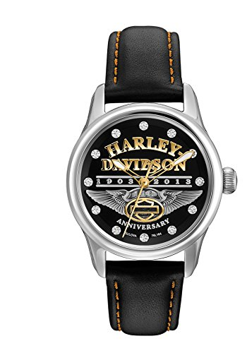 Harley Davidson Men's Quartz Watch with Black Dial Analogue Display and Black Leather Strap 76L164