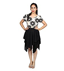 SARV Ebiz Women's Midi Dress Black and White(SEAN413)
