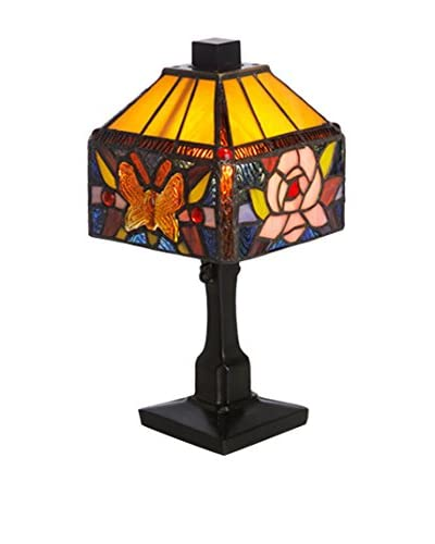 River Of Goods Stained Glass Rose Butterfly Accent Lamp, Multi