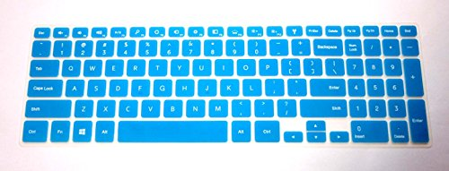 """Bingobuy® Semi-Blue Backlit Ultra Thin High Quality Silicone Keyboard Protector Skin Cover For 15.6'' New Dell Inspiron 15 7000 Series 15-7537(If Your """"Enter"""" Key Looks Like """"7"""", Our Skin Can'T Fit) With Bingobuy Card Case For Credit, Bank, Id Card"""