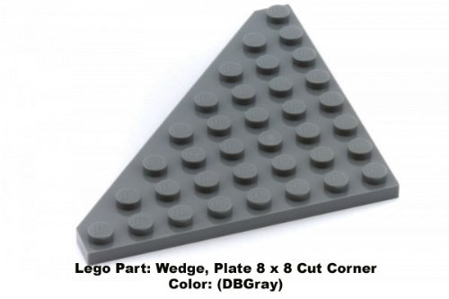 Lego Parts: Wedge, Plate 8 x 8 Cut Corner (DBGray) - 1