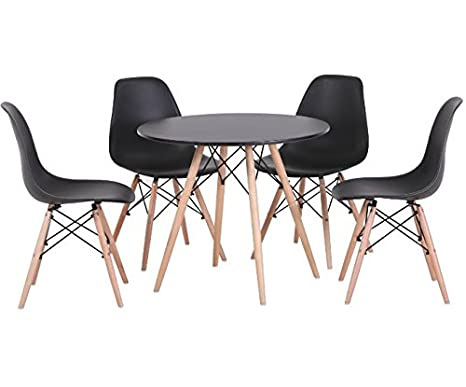 Attractive Round Table Dining Set - Includes 4 Chairs And 1 Table - Beautiful Black And Natural Finish - Solid Wood Construction