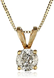 """10k Yellow Gold Round Diamond Solitaire Pendant Necklace (1/4 cttw, I-J Color, I2-I3 Clarity), 18"""""""