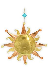 Pilgrim Imports Old Fashion Sun Metal Fair Trade Ornament