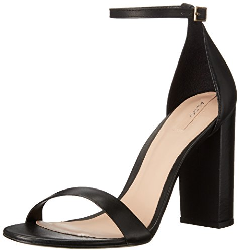 Aldo Women's Margaree Dress Sandal, Black Leather, 6.5 B US