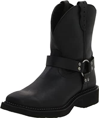 """Justin Boots Women's Gypsy Collection 8"""" Boot Wide Square Double Stitch Toe Black Rubber Outsole,Black Crazy Cow/Black Crazy Horse with Diamond Cut Pull Strap,5 B US"""
