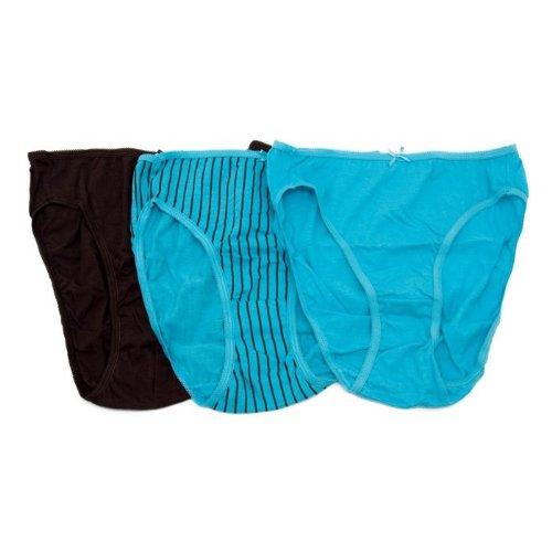 Damen Baumwoll-Unterhosen mit hohem Beinausschnitt, einfarbig und gemustert (3 Stück) günstig bestellen