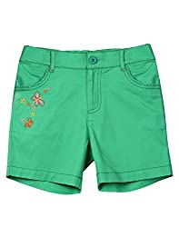 Beebay Green Embroidered Twill Short (G1415105403710_Green_4Y)