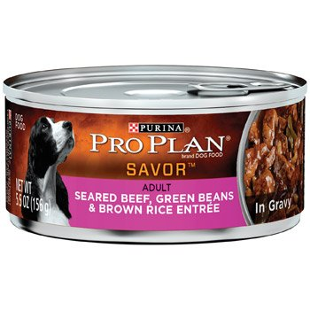 Purina Pro Plan Savor Adult Seared Beef, Green Beans & Rice Entree In Gravy - 24X5.5Oz