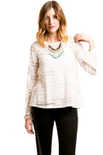 Circle Lace Embroidered Top in Ivory