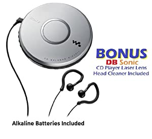 Sony Walkman Portable Skip-Free CD Player with Clip Style Earbud Headphones, LCD Display, Digital Mega Bass Sound & AVLS - Batteries Included - *BONUS* DBsonic CD Player Lens Cleaner Included