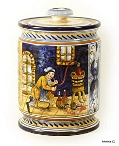 MAJOLICA: 'The Wine Maker' canister [#133-MAJ]