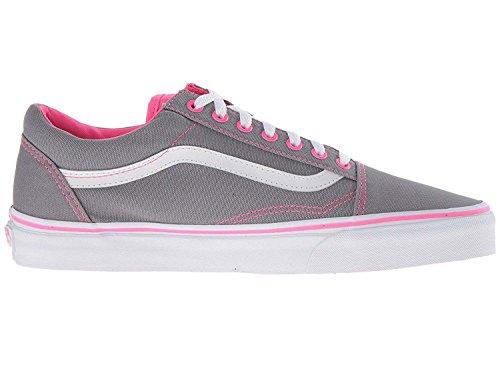 Vans Women's Old Skool Canvas Skate Shoes Frost Grey/Neon Pink Pop 9 B(M) US (Vans Side Stripe Old Skool compare prices)