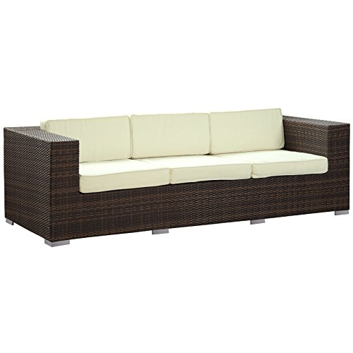LexMod Daytona Outdoor Wicker Patio Sofa in Brown with White Pillows image