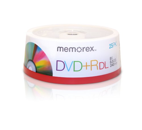 Memorex 25pk Dvd+r Dl 8x 8.5gb Spindle