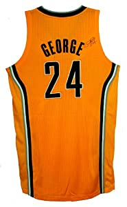 Prize Authentics Paul George Autographed Authentic Yellow Pacers Jersey by Prize Authentics