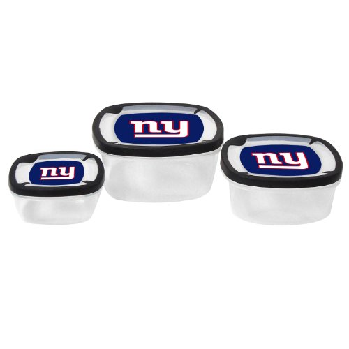 Nfl New York Giants Nesting Square Containers, 7.2-Cup; 3.5-Cup; 2.1-Cup, Clear, Piece Of 3