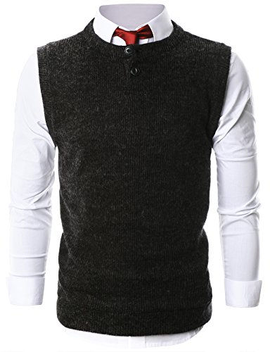 ohoo-mens-casual-crewneck-henley-sweater-button-vest-dcv005-charcoal-m