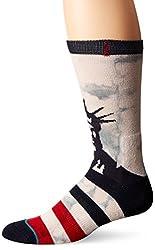 Stance Men's Lady Liberty Crew Sock, White, Small/Medium