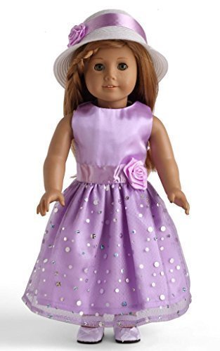 "Light Purple Party Dress With Sequins Doll Clothes for 18"" American Girl Dolls - 1"