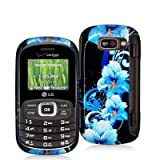 Blue Flower Design Crystal Hard Skin Case Cover for LG Octane VN530 Phone N ....