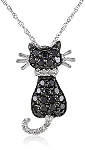 XPY 14k White Gold Black and White Diamond Cat Pendant (.29 cttw)