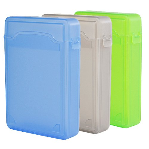 Ikross 3 Colors Package - 3.5 Inch Ide/Sata Hdd Storage Protection Boxes - Green,Grey And Blue