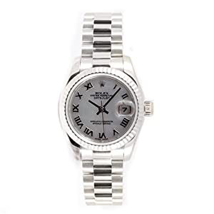Rolex Ladys President New Style Heavy Band 18k White Gold Model 179179 Fluted Bezel Mother Of Pearl Roman Dial