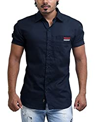 PP Shirts Men Cotton Casual Shirts ( Black XXL )