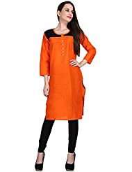 KANNAN COTTON ORANGE PLAIN KURTI