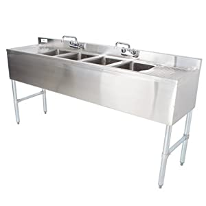 "Regency Underbar Sink with Four 10"" x 14"" x 10"" Compartments, Two 13"" Drainboards, and Two Faucets -"