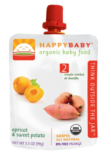 HAPPYBABY Organic Baby Food, Stage 2, Apricot & Sweet Potato, 3.5 Ounce Pouch (Pack of 16)