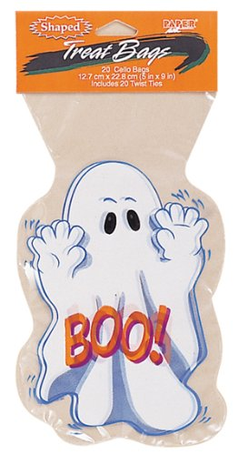 Ghost Shaped Halloween Cello Treat Bags - 20 Bags With 20 Twist Ties