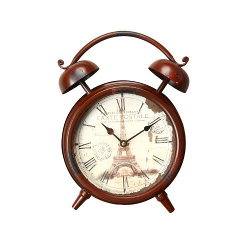 Adeco Vintage-Inspired Red-Brown Iron Alarm Clock Style Wall Hanging or Table Clock, Eiffel Tower, Roman Numerals, Eiffel Tower- Home Decor accents