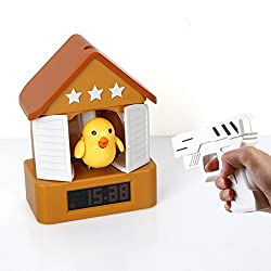 Best mall LCD Screen Cuckoo Alarm Clock House Clock With Gun,Shoot The Bird-Creative Lazy Desk Bedside Clock-Coffee Color