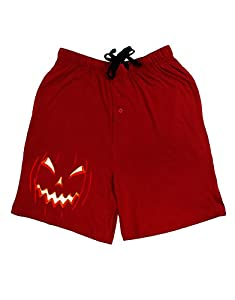 Scary Glow Evil Jack O Lantern Pumpkin Adult Lounge Shorts - Red- 2XL
