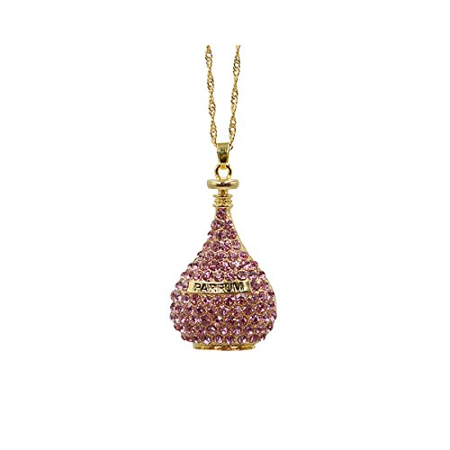 KINGSEVEN Exquiste Chain Swarovski Crystal Solid Perfume Bottle Pendant Necklace for Women
