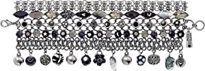 Amaro Jewelry Studio 'Primitive' Collection .925 Silver Plated Charms and Multi-Stranded Bangle Bracelet Designed with Marquise and Round Black Tahiti, Black Onyx, Snowflake Obsidian, Horn and Swarovski Crystals